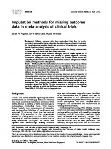 Imputation methods for missing outcome data in meta ... - BioMedSearch