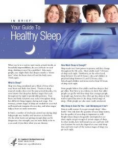 In Brief: Your Guide To Healthy Sleep
