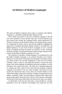 In Defence of Modern Languages - Modern Languages Open