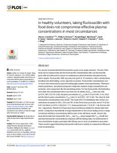 In healthy volunteers, taking flucloxacillin with food does not ... - PLOS