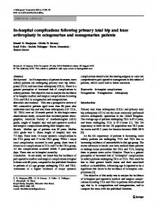 In-hospital complications following primary total hip and knee ...