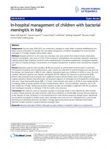 In-hospital management of children with bacterial meningitis in Italy