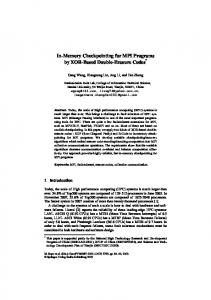 In-Memory Checkpointing for MPI Programs by ... - Semantic Scholar