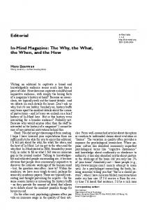 In-Mind Magazine: The Why, the What, the When, and the How ...