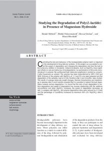 in Presence of Magnesium Hydroxide - Iranian Polymer Journal