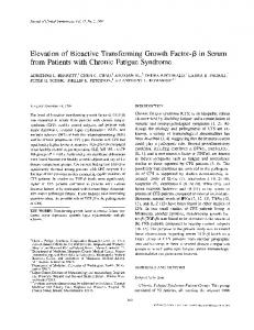 in Serum from Patients with Chronic Fatigue Syndrome - Springer Link