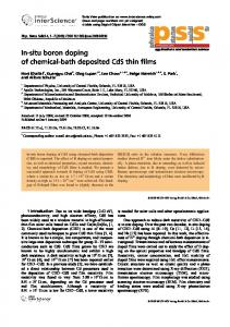 In-situ boron doping of chemical-bath deposited CdS ...