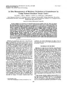 In Situ Measurement of Methane Oxidation in Groundwater by Using ...