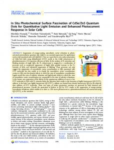 In Situ Photochemical Surface Passivation of CdSe ... - ACS Publications
