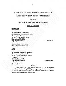 in the high court of karnataka at bangalore dated this the 30th day of ...