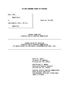 IN THE SUPREME COURT OF FLORIDA GTC, INC., ) ) Appellant ...