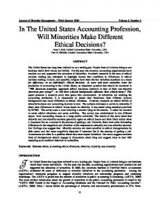 In The United States Accounting Profession, Will Minorities Make