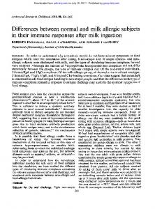 in their immune responses after milk ingestion