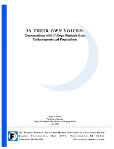 IN THEIR OWN VOICES: - New England Resource Center for Higher ...
