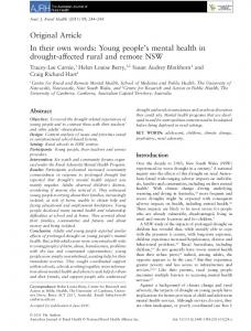 In their own words: Young people's mental health in ...