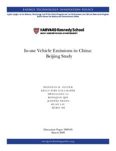 In-use Vehicle Emissions in China: Beijing Study