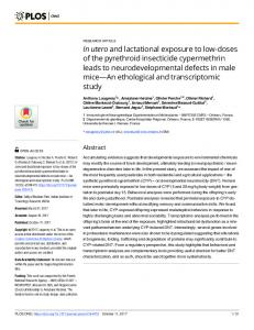 In utero and lactational exposure to low-doses of ... - Semantic Scholar