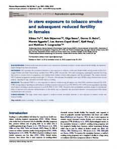 In utero exposure to tobacco smoke and subsequent reduced fertility ...