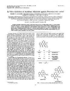 In Vitro Activities of Acridone Alkaloids against Pneumocystis carinii