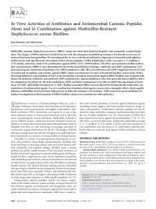 In Vitro Activities of Antibiotics and Antimicrobial Cationic Peptides ...