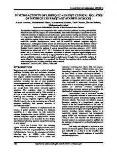 in vitro activity of linezolid against clinical isolates of methicillin ...
