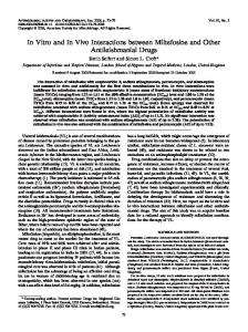 In Vitro and In Vivo Interactions between Miltefosine and Other ...