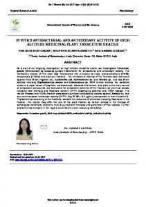 in vitro antibacterial and antioxidant activity of high ...