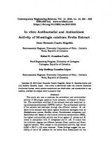 In vitro Antibacterial and Antioxidant Activity of Muntingia ... - m-hikari
