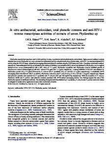 In vitro antibacterial, antioxidant, total phenolic contents and ... - Core