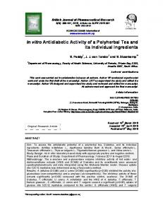 In vitro Antidiabetic Activity of a Polyherbal Tea ... - Journal Repository