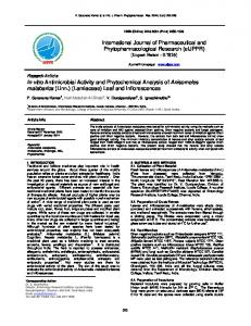 In vitro Antimicrobial Activity and Phytochemical ...