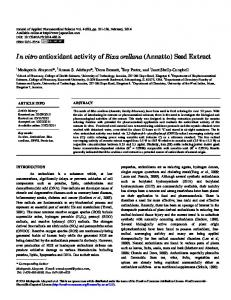 In vitro antioxidant activity of Bixa orellana (Annatto) - Journal of ...
