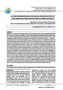in vitro antioxidant and alpha amylase inhibition activity of plant