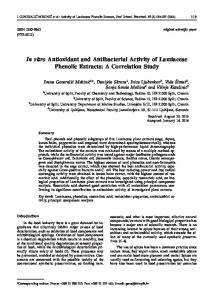 In vitro Antioxidant and Antibacterial Activity of Lamiaceae Phenolic ...