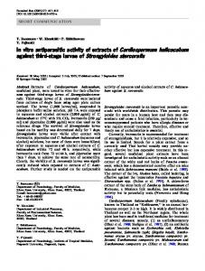 In vitro antiparasitic activity of extracts of ... - Springer Link