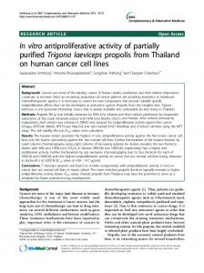 In vitro antiproliferative activity of partially purified Trigona laeviceps ...