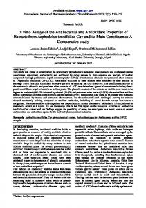In vitro Assays of the Antibacterial and Antioxidant ... - Impact Factor