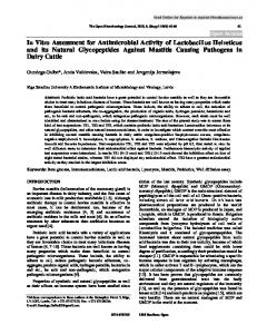 In Vitro Assessment for Antimicrobial Activity of ... - Bentham Open