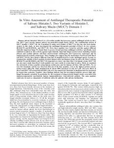 In Vitro Assessment of Antifungal Therapeutic Potential of Salivary ...