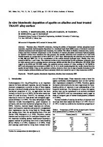 In vitro biomimetic deposition of apatite on alkaline and heat treated ...