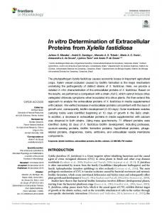 In vitro Determination of Extracellular Proteins from Xylella ... - Core