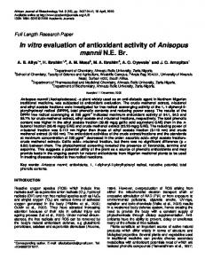 In vitro evaluation of antioxidant activity of Anisopus ... - CiteSeerX