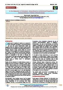 In Vitro Evaluation of Antioxidant, Antiproliferative and ...