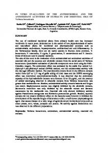 IN VITRO EVALUATION OF THE ANTIMICROBIAL ...