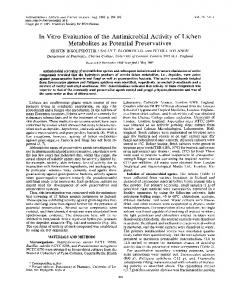 In Vitro Evaluation of the Antimicrobial Activity of Lichen ... - NCBI