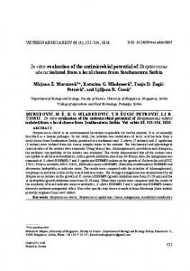 In vitro evaluation of the antimicrobial potential of Streptococcus uberis