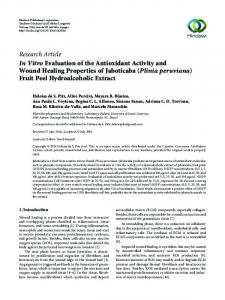In Vitro Evaluation of the Antioxidant Activity and Wound Healing