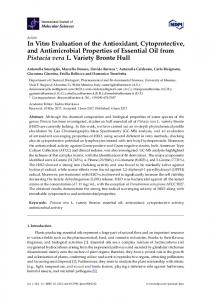 In Vitro Evaluation of the Antioxidant