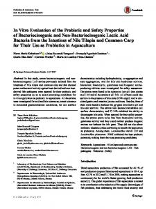 In Vitro Evaluation of the Probiotic and Safety ...