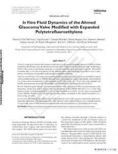 In Vitro Fluid Dynamics of the Ahmed Glaucoma Valve ... - DukeSpace
